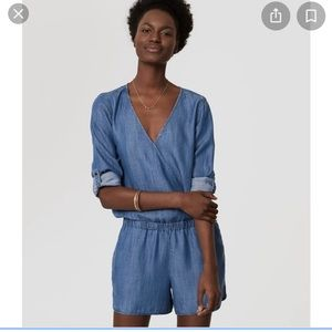 Loft Wrap Front Chambray Romper